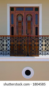 Typical door of a Spanish colonial style house in San Germ?n, Puerto Rico.