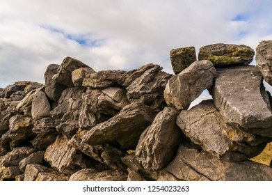A typical dry stone wall on the irish countryside. Famine Walls in Burren, County Clare, Ireland.