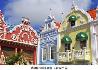 Typical dutch design architecture . Center square in Oranjestad Aruba Caribbean windward islands lesser antillies west indies.