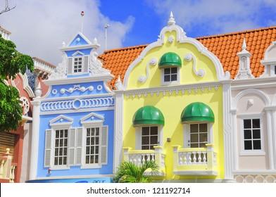 Typical dutch design architecture . Center square in Oranjestad Aruba Caribbean windward islands lesser antillies west indies.