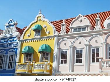 Typical dutch design architecture . This  buildings are part of center square in  Oranjestad Aruba Caribbean windward islands lesser antillies west indies.
