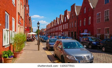The typical Dutch houses in Dutch Quarter of Potsdam - POTSDAM / GERMANY - MAY 22, 2018