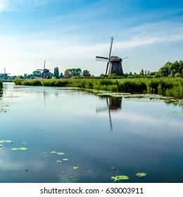 Typical Dutch landscape in Alkmaar, the Netherlands