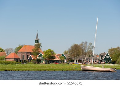 Typical Dutch little village Driehuizen in the Eilandspolder