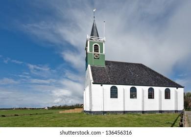 Typical Dutch sailor church at Oudeschild, Texel