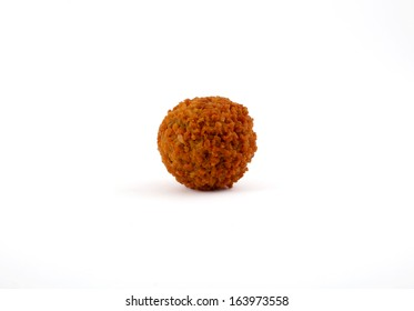 Typical Dutch snack called 'bitterbal' isolated on white background