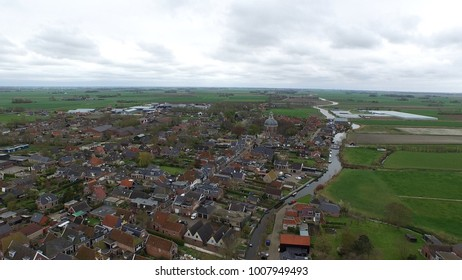 Typical dutch village in the east of Holland top drone shot