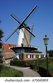 A typical Dutch windmill in Willemstad, a city in the Dutch province of North Brabant. It is located in the municipality of Moerdijk.
