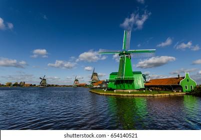 Typical Dutch windmills at the Zaanse Schans museum,Netherlands