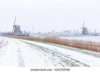 Typical dutch winter landscape with two windmills
