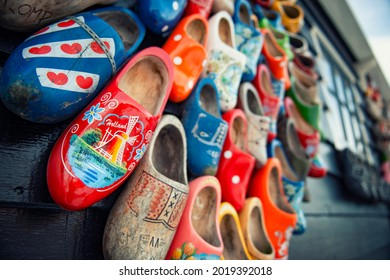 Typical dutch wooden shoes in the Zaanse Schans during wintertime.