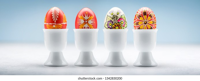 Typical easter egg collection from Slovakia with egg holder.