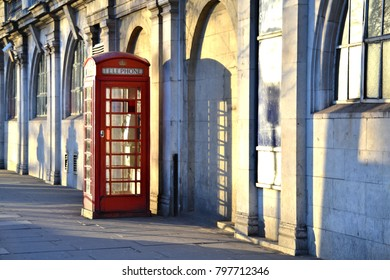 typical English red phone booth