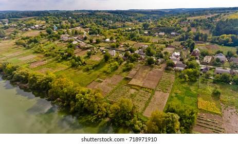 A typical European village. Aerial view.