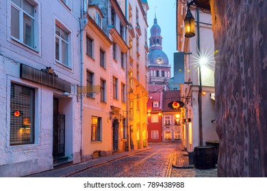 Typical europeen medieval street and the Cathedral of Saint Mary in the morning, Riga, Latvia