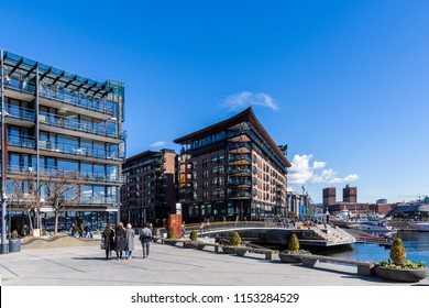 Typical example of Scandinavian architecture in the Aker Brygge area in Oslo, Norway