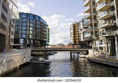 Typical Example Of Scandinavian Architecture. Exterior Building in Aker Brygge is a popular area for for shopping, dining, and entertainment in Oslo, Norway