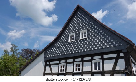 Typical example of Umgebindehaus, a special 18th century building style in Upper Lusatia, separating the ground floor from the upper floor