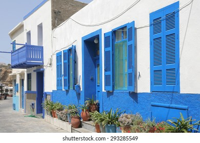 typical facade of a greek building on the island of Nisyros