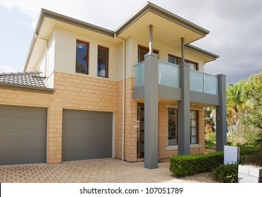 typical   facade of a modern australian house at noon