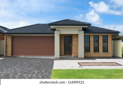 typical  facade of a modern suburban australian house