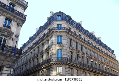The typical facades of Parisian buildings, France.