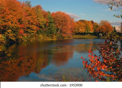 Typical fall scene in the Boston area, Massachusetts. Oak and other trees showing their fall foliage by a lake.