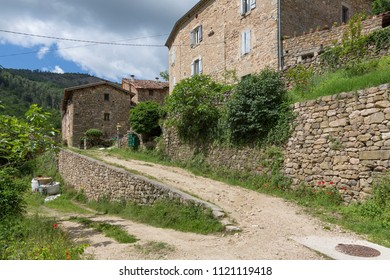 Typical farm houses in the Ardeche district, France