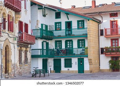 Typical fishing houses in Hondarribia, a city in Gipuzkoa, Basque Country, Spain, near the French border.