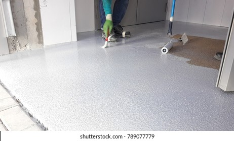 Typical floor preparation for epoxy top coat