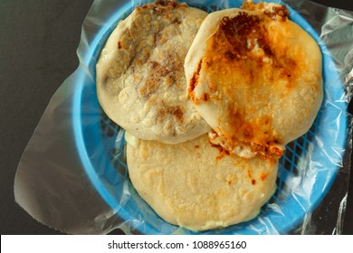 Typical food of El Salvador, pupusas with bean and melted cheese.