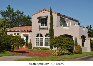Typical gated community residence in Coral Gable, Miami, South Florida,