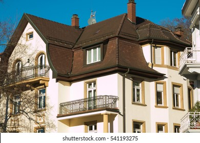 Typical German architecture. House in the historic center of Baden Baden