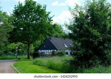 Typical German architecture, public park of Abbey Saarn, Germany