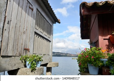 Typical granaries at the waterfront in Combarro, Galicia, Spain.