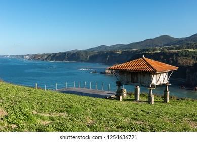 Typical granary (horreo) in Cadavedo, Asturias, Spain