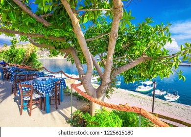 Typical Greece restaurant on the beach, Creta, Greece, Europe.