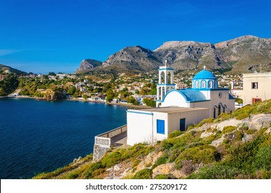 Typical Greek blue dome churches, Kalymnos, Greece
