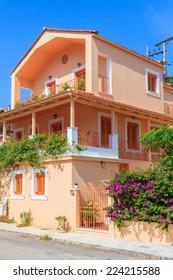 Typical Greek house in village of Vathi, coastal port on Ithaka island, Greece