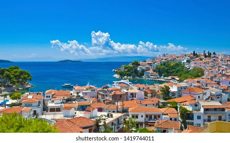 A typical greek island town - Skiathos Town, on the Skiathos Island in the Aegean Sea, belonging to Greece.
