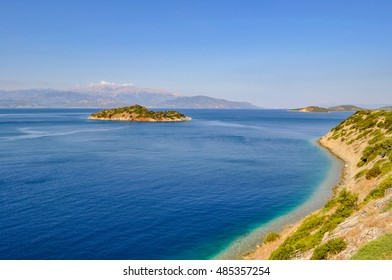 Typical Greek sea landscape and clouds in Mani, Greece