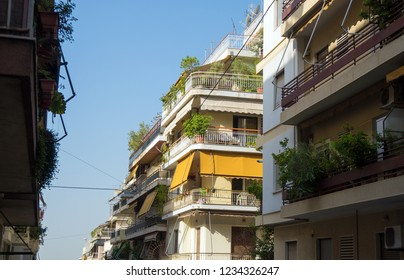 Typical greek street in Athens in Greece.
