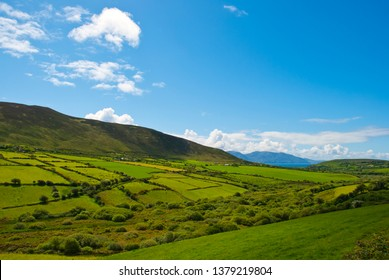 Typical green Irish country side with blue sky and cluds