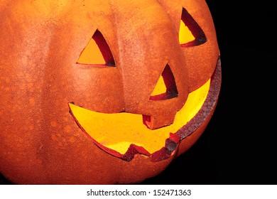 typical halloween pumpkin on black background