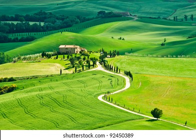 Typical historic villa house in the middle of Val d'Orcia in Tuscany