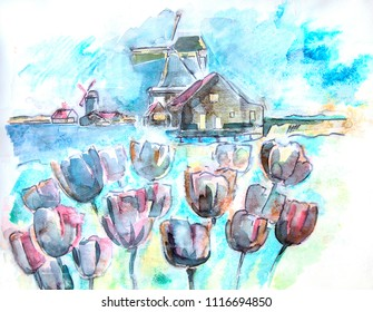 typical Holland, ink  illustration