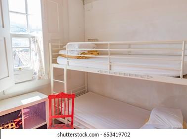 Typical hostel dormitory room interior