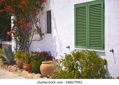 Typical House With Flower Pots in Mallorca, Spain ( Balearic Islands )