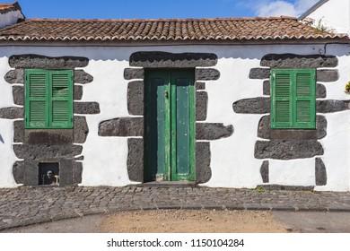 Typical house made of volcanic rocks, Verdelho wine region, Pico Island, Azores, Portugal
