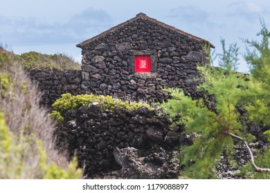 Typical house made of volcanic rocks, Pico Island, Azores, Portugal